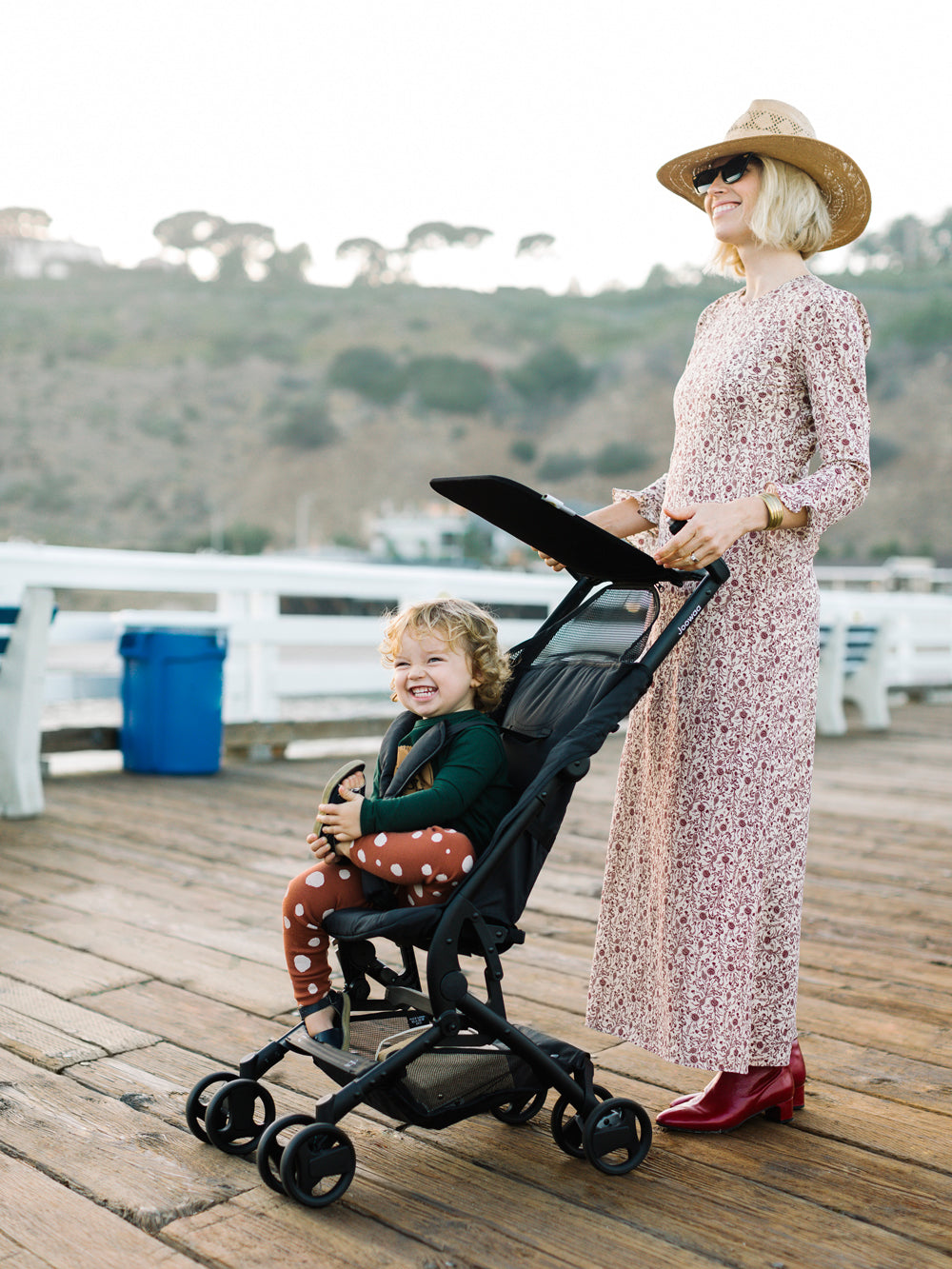 Brooke and Sonny with the Poppy stroller on the Malibu Pier.