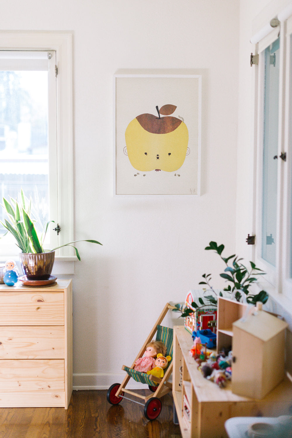 A Fine Little Day Apple Papple print hangs in the bedroom of Erin Perez Hagstrom's children.