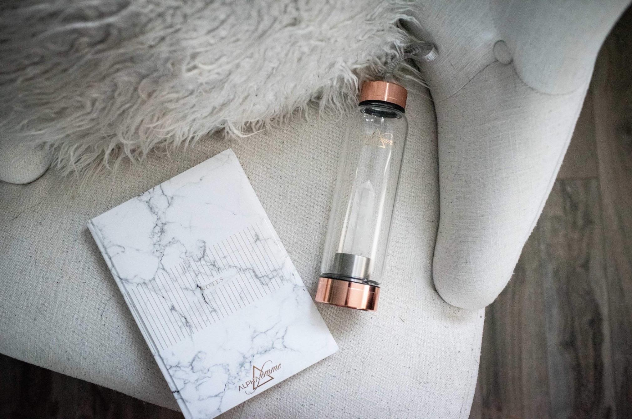Crystal Infused Water Bottle - Clear Quartz/Rose Gold Lid
