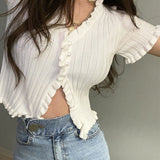 Knitted V-Neck Frill Trim Cardigan