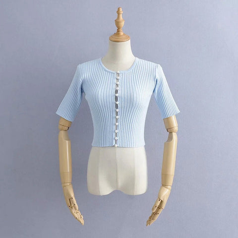 Knitted Pearl Short Sleeve Cardigan