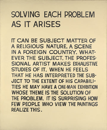 Solving Each Problem as it Arises, John Baldessari