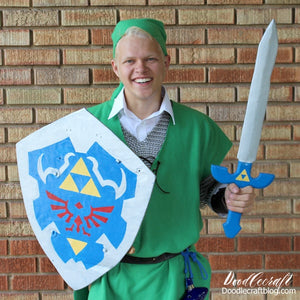 Legend of Zelda Link Cosplay with Hylian Shield + Master Sword DIYIn our home we absolutely love Legend of Zelda