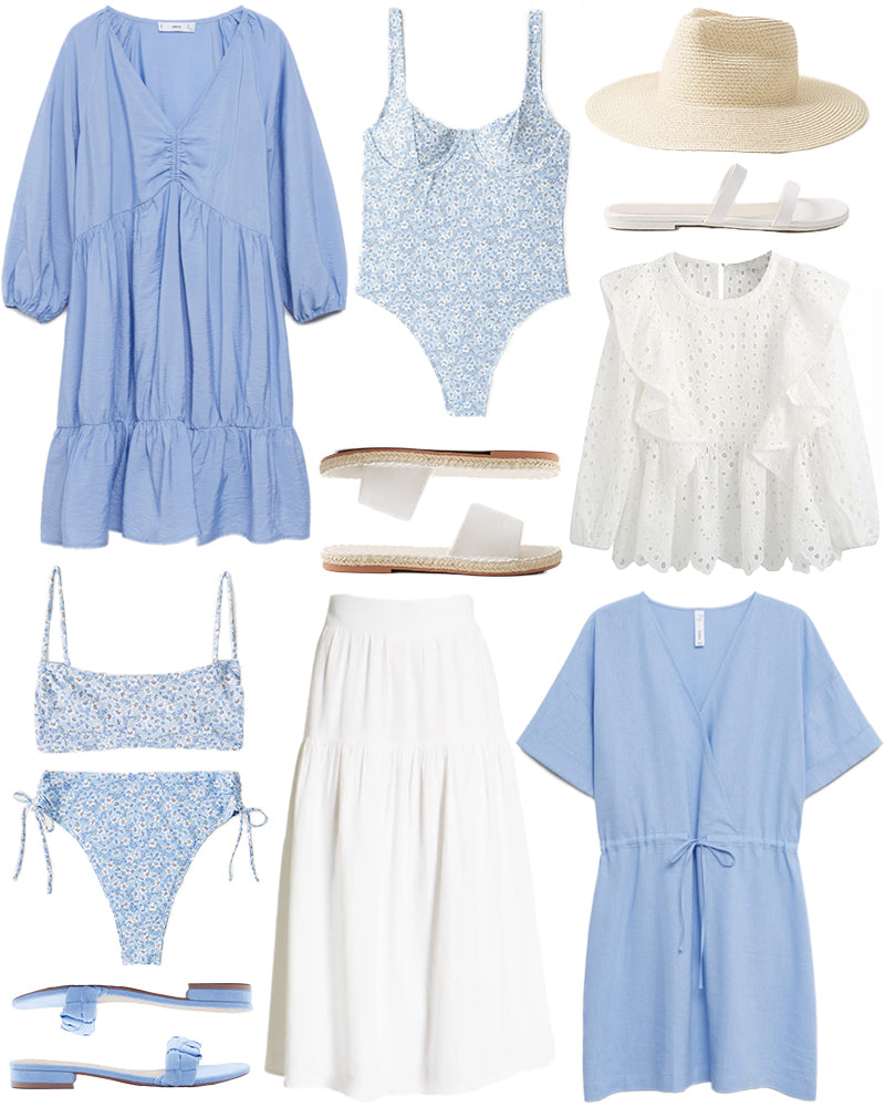 RUFFLED DRESS // FLORAL ONE-PIECE // STRAW HAT // DOUBLE-STRAP SANDALS // EYELET RUFFLE BLOUSE // LINEN WRAP DRESS // ESPADRILLE SLIDE SANDALS // LINEN MIDI SKIRT // BLUE SUEDE SANDALS // FLORAL BIKINI TOP // FLORAL BIKINI BOTTOMS
