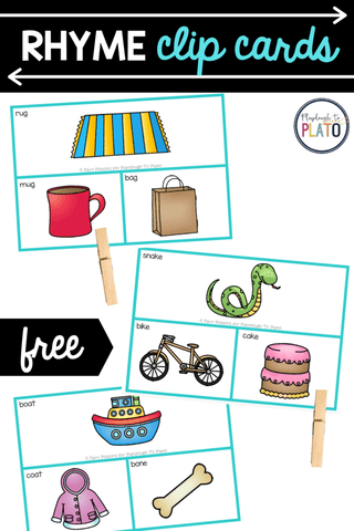 If you're teaching kids how to rhyme, these free rhyme clip cards are a helpful addition to any literacy center or word work station.