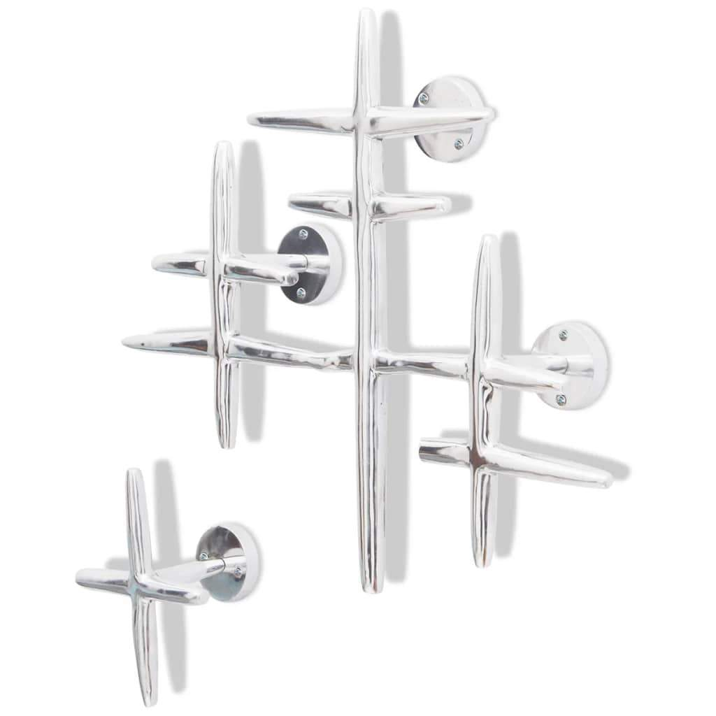 2 Wall Mounted Clothes Hooks Set Coat Rack Hat Hanger Aluminium Silver