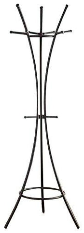 1Perfectchoice Modern Contemporary Hallway Coat Rack Curved Lines Hooks Umbrella Rack, Black
