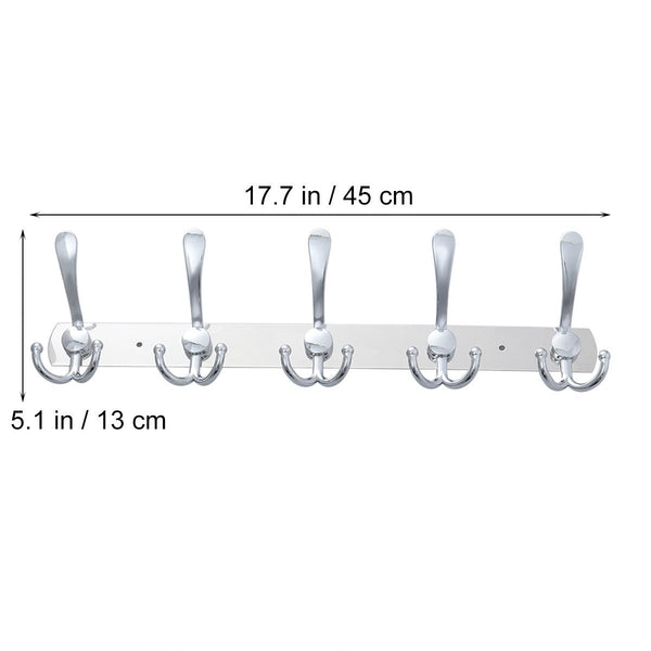 TOYMYTOY 2pcs Wall Mounted Coat Hook 2 Pack Rack with 5 Stainless Steel Hat Hanger