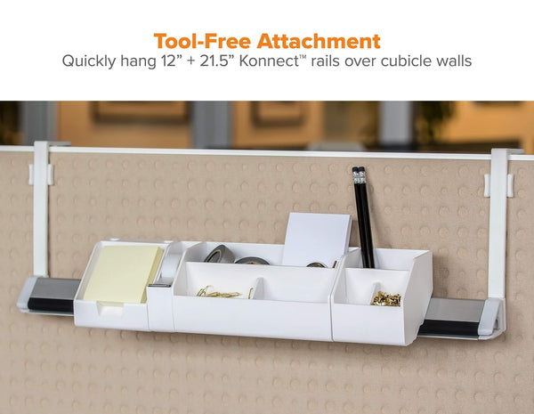 "Bostitch Konnect Cubicle Hanger for Rails, Fits 2-3.5"" Cube Walls, Set of 2 (KT-RAILHANGER3)"