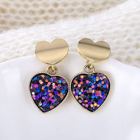 New Fashion Heart Drop Earrings Women's Geometric Mermaid Sequins Alloy 5 Color Earrings Korean Gold Love Bijoux Jewelry Gifts