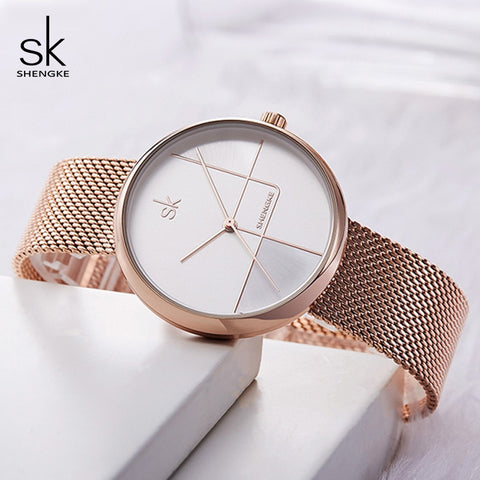 Shengke Ladies Fashion Wrist Watch Rose Gold Bracelet Watches Reloj Mujer 2019 New Luxury Steel Quartz Watch For Women #K0105