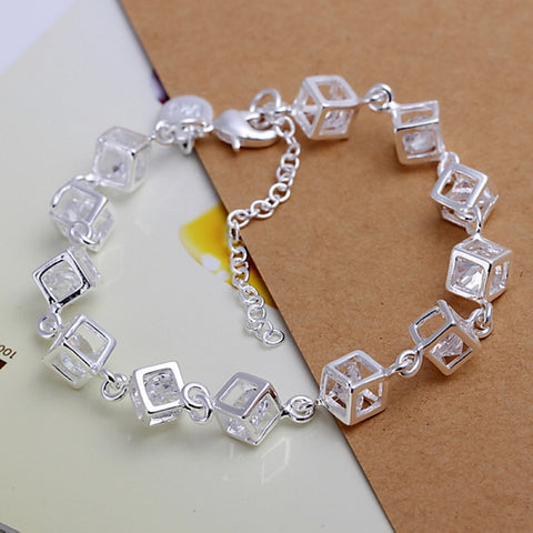 Silver color exquisite white crystal stone CZ bracelet fashion charm for women lady wedding hot sale female section H241