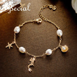 Special handmade natural pearl starfish shell bracelet champagne lined mermaid dance