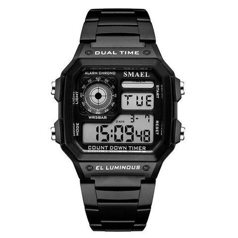 SMAEL Fashion Men's Sports Watch Square LED Digital Watches Male Stainless Steel Waterproof Beautiful Watch