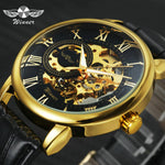 WINNER Official Trendy Mens Watches Top Brand Luxury Skeleton Mechanical Watch Men Leather Strap Fashion Casual Wristwatch Dress
