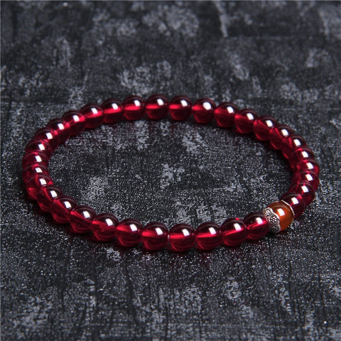 Natural Stone Handmade Strand Bracelet For Women 6mm Garnet Beads Bracelet Lotus Braslet Yoga Meditation Jewelry Friendship