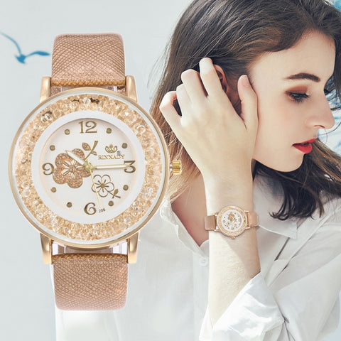 Top Brand Luxury Wristwatch Ladies Rose Pattern Leater Bracelet Watches Flower Design Gold Rhinestone Casual Watch Relojes W50