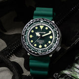 San Martin TUNA NH35 Mens Diver Automatic Watch Black Aging Stainless Steel 300Bar Waterproof Fluoro Rubber Sapphire Date Window This Watch is one of the best made watches in the world