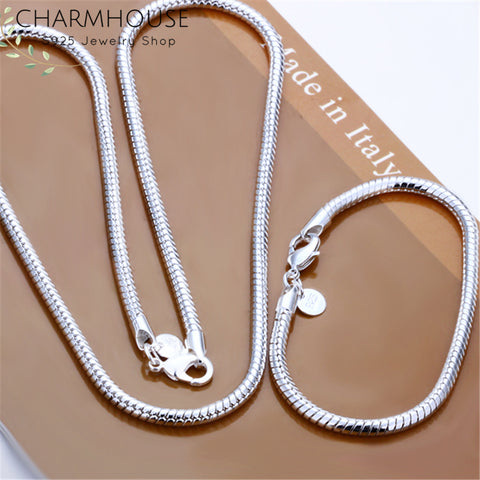 Charmhouse Silver 925 Jewelry Sets For Men 4mm Snake Chain Necklace Bracelet Collier Pulseira 2Pcs Costume Jewelery Set Bijoux