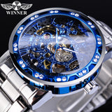 Winner Mechanical Mens Watches Fashion Diamond Blue Dial Mens Watches Silver Stainless Steel Luminous Hands Business Male Watch