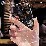 Lovebay Glitter Bling Stars Moon Case For iPhone 11 Pro X XR XS Max 7 8 6 6s Plus Clear Planet Phone Cases Soft TPU Back Cover