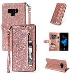 Bling Glitter Case For Samsung Galaxy S10e Note 8 9 S10 Plus S9 S8 Plus S7 Edge S6 Leather Flip Stand Zipper Wallet Cover