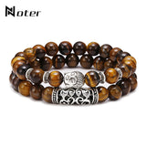 Noter 2pcs/set Couples Distance Bracelet Men Women Natural Lava Bracelet Stone Tiger eye Braclet Vintage Strand Braslet Pulseira