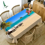 3D Tablecloth Beachfront Beach Landscape Pattern Polyester Dustproof Rectangle Table Cloth Christmas New Year Gift