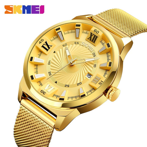SKMEI Business Mens Watches Top Brand Luxury Watch Men Gold Stainless Steel Strap Quartz Wristwatches
