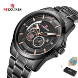 New men's watch top brand MIZUMS steel belt watches foreign trade watch waterproof quartz business men watches calendar