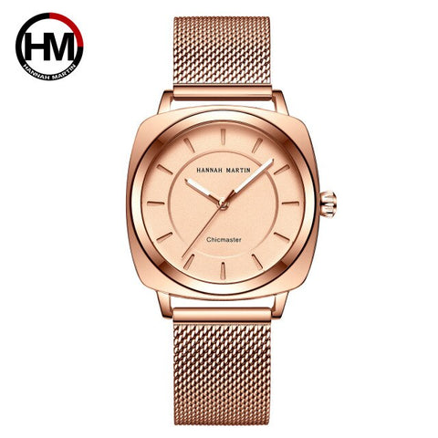 Hannah Martin Luxury Brand Women Watch Woman Japanese Movement Square Waterproof Wristwatch Ladies Watch Women