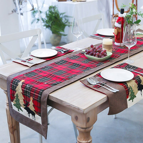 Nordic Christmas cotton twist lattice table flag creative new Christmas decoration restaurant table tablecloth