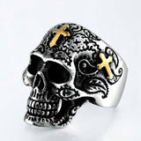 SECRET BOY    New Gothic Punk Skeleton Rings For Men Fashion Bohemian Hollow Retro Skull Rings Male Jewelry Accessories