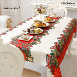 180cm Christmas Tablecloth Xmas Printed Table Cloth Dining Table Dust Cover Home Decoration for Christmas Day