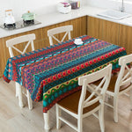 Bohemian Style Print Decorative Linen Waterproof Tablecloths. Thick Rectangular, Great for Home and Party Decorations.