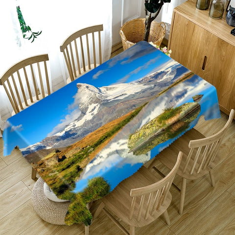 Thicken Cotton Tablecloth 3D Natural Scenery Landscape Pattern Rectangular/Round Table Cloth for Wedding Picnic Party