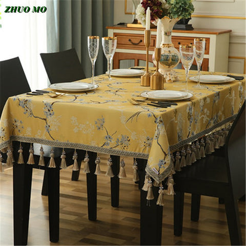 Luxury European Jacquard Tablecloth with Pendant Tablecloth for Home decoration dining kitchen accessories New Year's tablecloth
