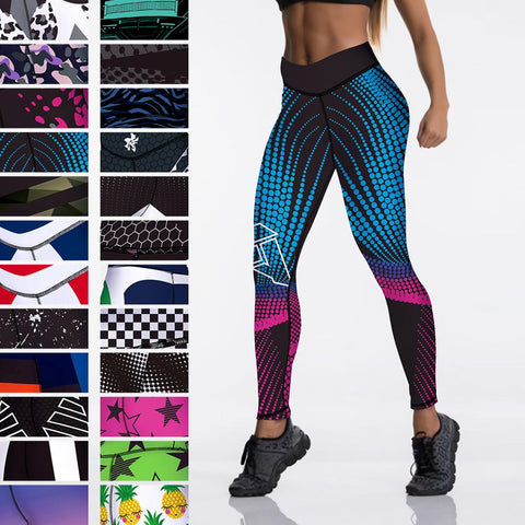 Sexy High Waist Elasticity Womens Digital Printed Leggings. Strong Push Up Leggings. Look Great as you Exercise