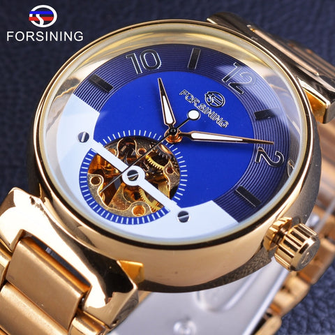 Forsining Blue Ocean Middle East Luxury Design Golden Stainless Steel Mens Watches Top Brand Luxury Automatic Wrist Watch