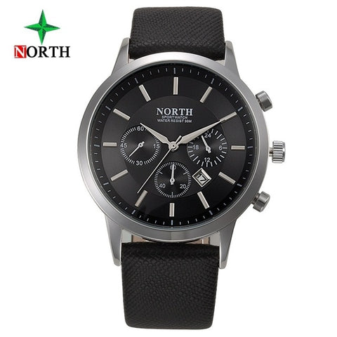 Mens Luxury Waterproof Watches. Mens Business or Sport Watch in Blue, Black White or Brown with Genuine Leather Band