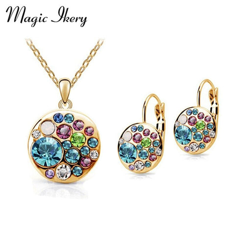 Magic Ikery Vintage Earrings Necklace Set Gold Color Crystal Round African Costume Women Jewelery Indian Bridal Jewelry Sets