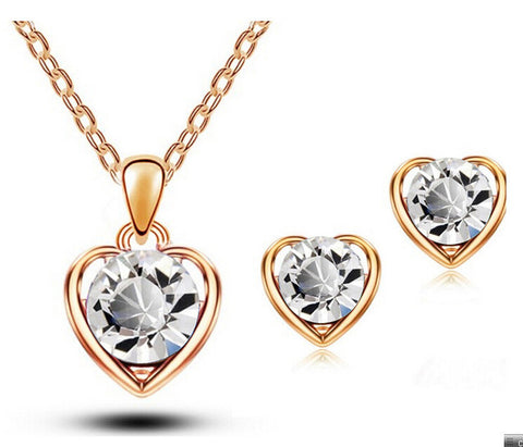 Magic Ikery Gold Silver Color Crystal Heart Fashion Costume Jewelery Bridal Jewelry Sets For Women Necklace Earrings Set 1331