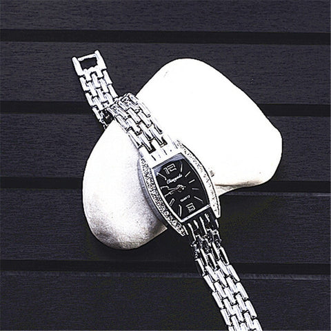 Women Silver bracelet watch rhinestone quartz fashion watches girl ladies wristwatch luxury stainless steel