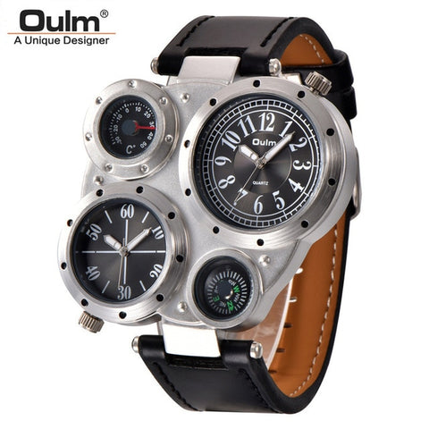 Oulm Unique Sports Men's Watches Top Brand Luxury 2 Time Zone Quartz Watch DecorativeThermometer and Compass Male Wrist Watch