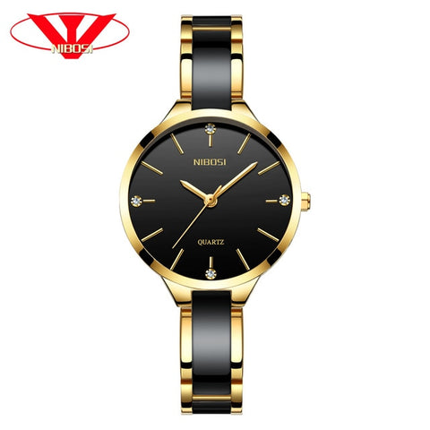 NIBOSI Women Watches Ladies Creative Women's Ceramic Bracelet Watch