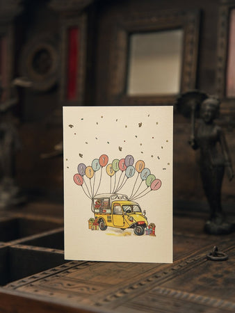 Birthday With Three Wheeled Vehicle And Balloons Card