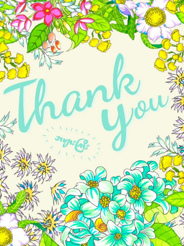 Thank you 'Amyargyi' with  Burmese flowers Card