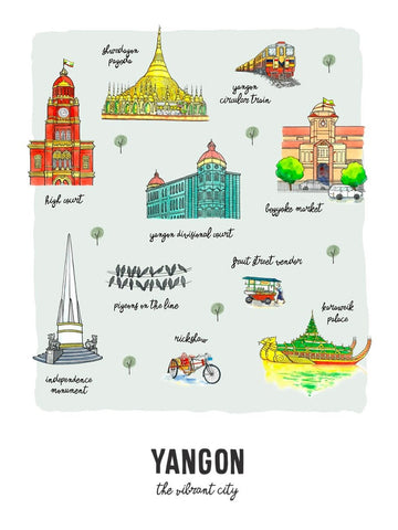 Yangon Non Framed Wall Art