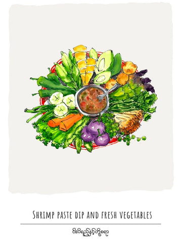 Shrimp Paste Dip And Fresh Vegetables Postcard