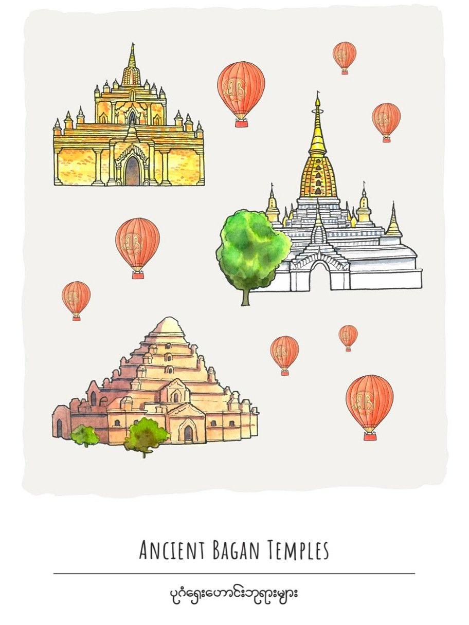 Ancient Bagan Temples Postcard